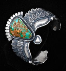 Derrick Cadman Sterling cuff with Royston, Nevada turquoise.