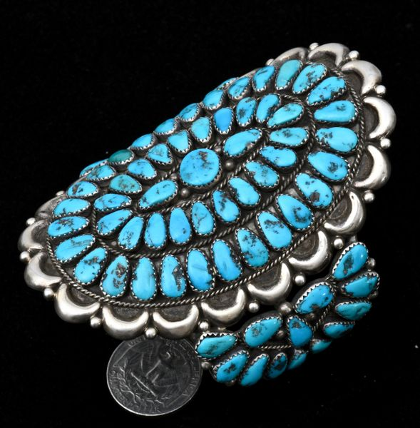 "Sterling cluster pawn cuff with 77 pieces of real—not ""block""—Sleeping Beauty turquoise.—SOLD!"