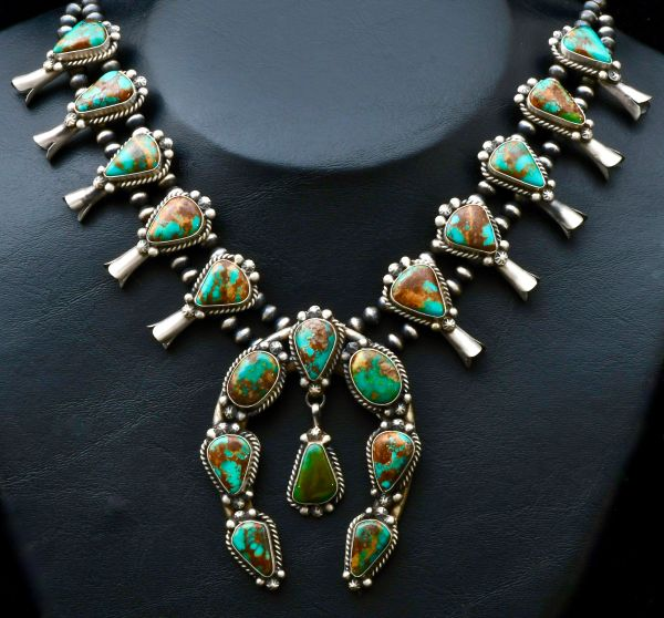 18-stone Sterling Navajo squash-blossom necklace with Kingman turquoise.