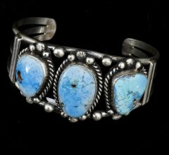 Sterling Navajo triplet cuff with Golden Hills turquoise.
