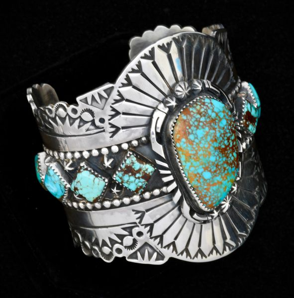 Trophy Navajo hand-stamped Sterling cuff with micro-web Kingman turquoise (6.75-inch circumference).—SOLD!