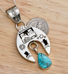 Dead-pawn Navajo shadowbox naja pendant (and chain) with single Kingman turquoise stone.