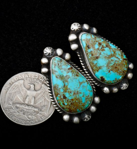 Sterling Navajo post earrings with Kingman turquoise.