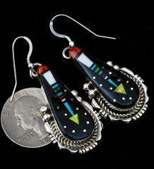 Colorful Sterling inlay earrings by Ray Jack.