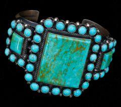 Navajo 41-stone Kingman, Arizona turquoise cluster cuff by Anthony Skeets