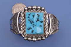 Large Navajo cuff with rectangular Sleeping Beauty mine turquoise