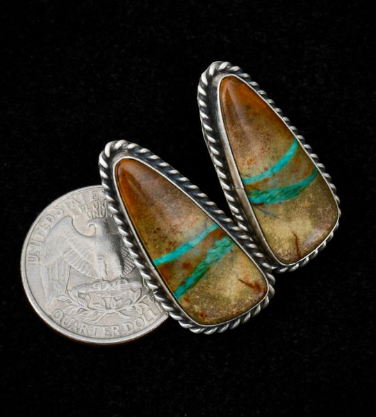 Sterling Navajo earrings with double-ribbon turquoise, by Maria Bahe.—SOLD!