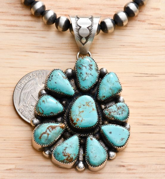 "Navajo ten-stone turquoise cluster pendant with 6mm, 20-inch ""Navajo pearl"" Sterling bead chain.—SOLD!"