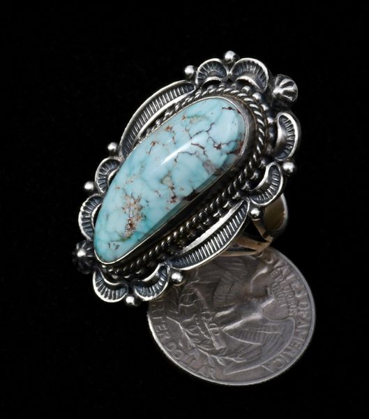 Dry Creek turquoise Navajo ring with amazing hand-stamping, size 9.5.