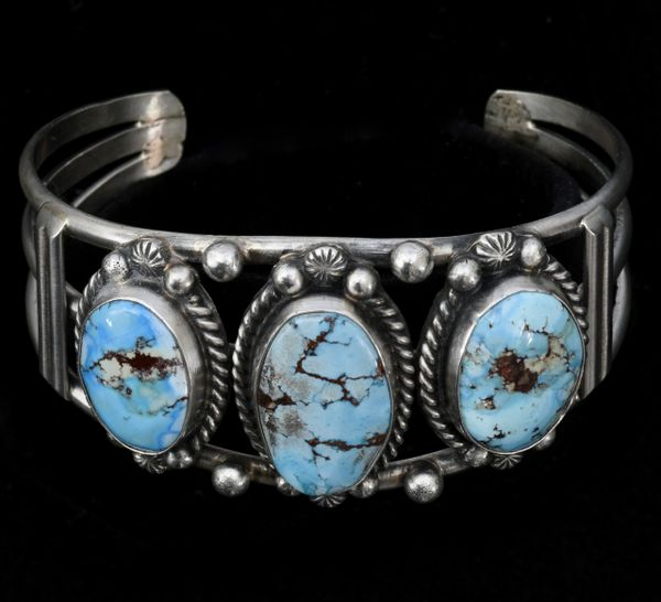 Golden Hills turquoise triplet cuff by Augustine Largo, Navajo.