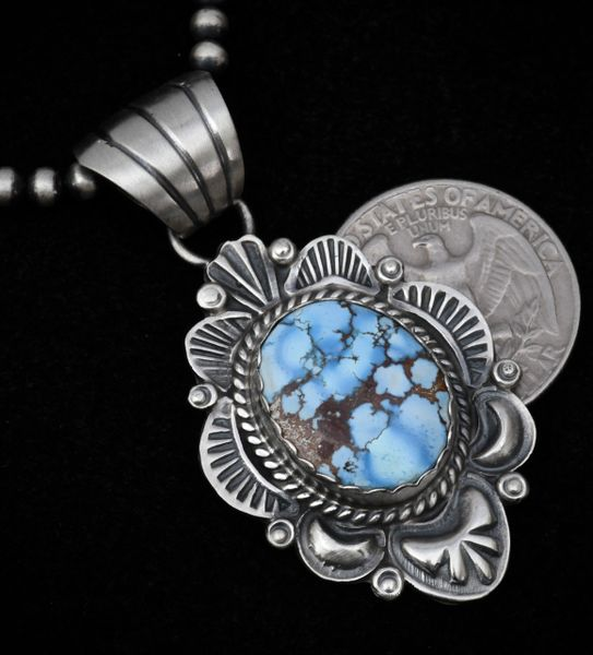 "Hand-stamped Navajo Golden Hills turquoise pendant with repousse' and 20-inch Sterling ""Navajo pearls"""
