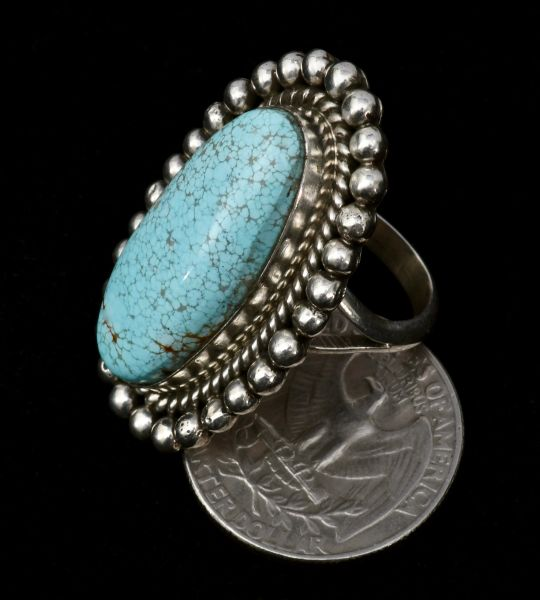 """Old"" No. 8 Mine turquoise Navajo size 8 ring."