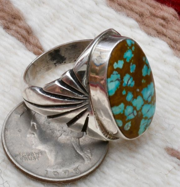Size 11-plus Sterling Navajo ring with new No.8 Mine turquoise. #0903