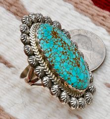 Size 9 Sterling Navajo ring with new No. 8 Mine turquoise, by Gilbert Tom.