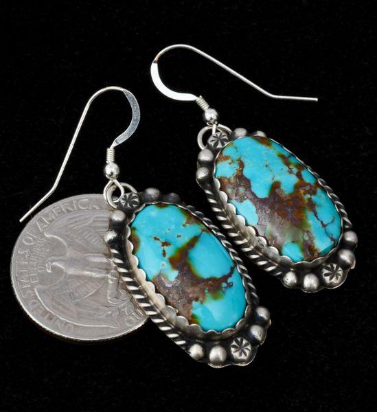 Sterling Navajo Kingman turquoise earrings