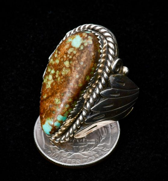 Dead-pawn size 10.5 ring with high-matrix Royston, Nevada turquoise.