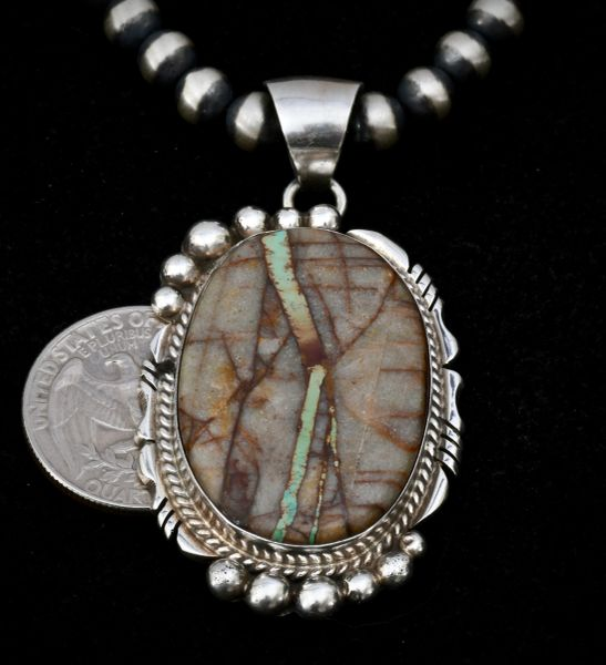 "Navajo ribbon turquoise pendant with 6mm, 20-inch Sterling Navajo ""pearls."""