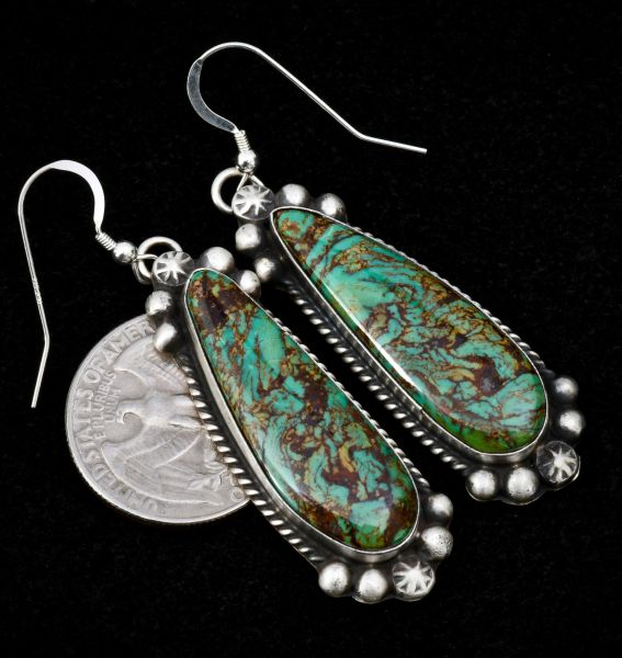 Trophy Navajo earrings with Royston, Nevada turquoise.