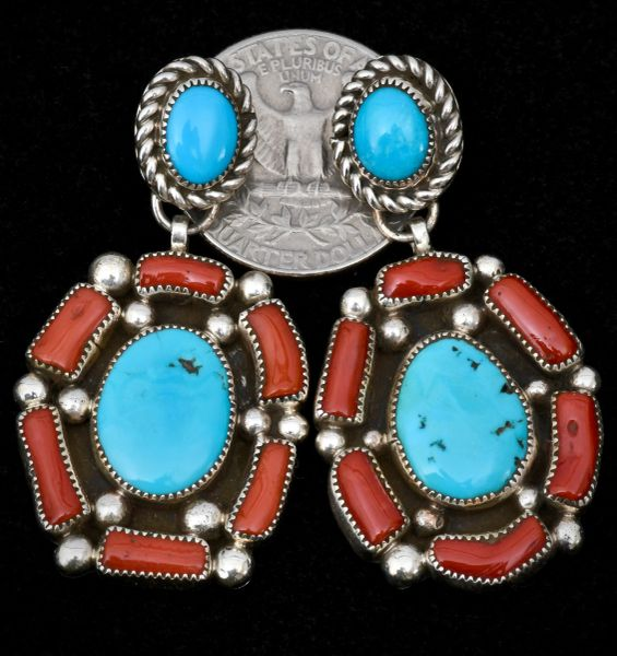 Dead-pawn Navajo two-piece earrings with real branch coral and turquoise.