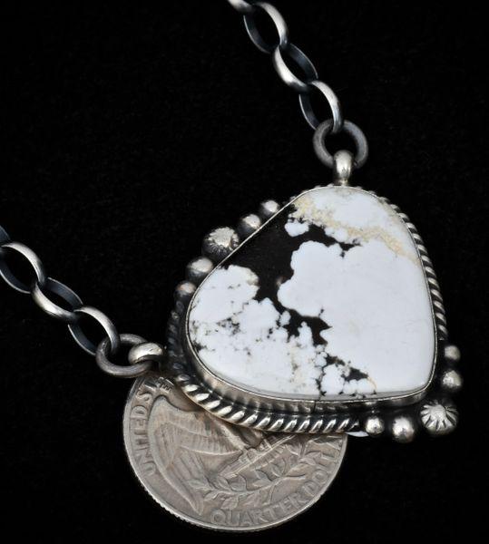 Navajo heart-shaped bar necklace with heavy-duty chain and White Buffalo