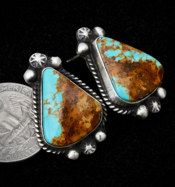 Smallish Navajo earrings with colorful turquoise containing lots of colorful matrix.