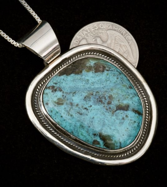 Sterling blue Kingman turquoise pendant by Chimney Butte.