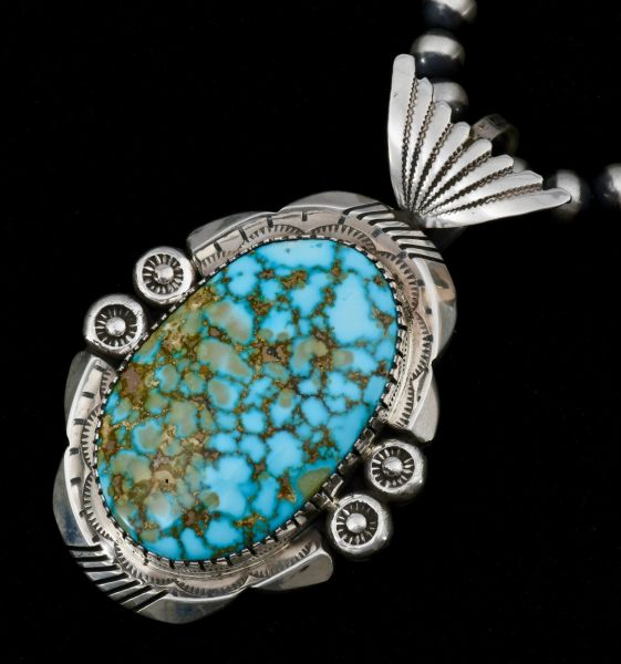 Navajo dead-pawn pendant with copper-matrix water-web Kingman turquoise, with a 6mm, 20 .