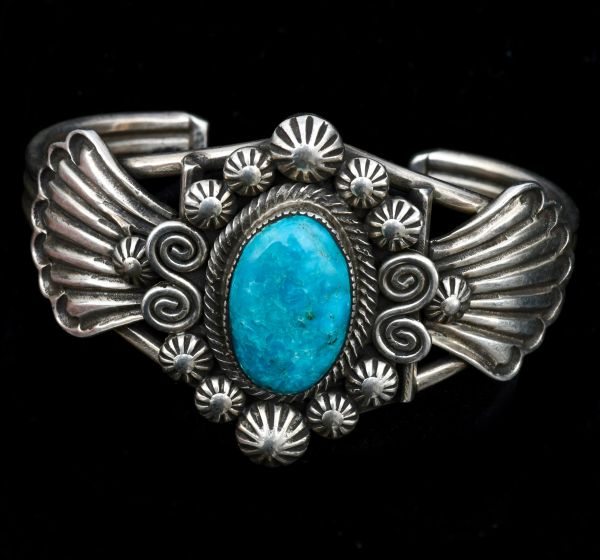 Well crafted dead-pawn Navajo Kingman turquoise cuff—6 and 1/8th-inch wrist circumference. #1296