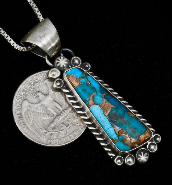 Navajo pendant (with chain) with spiney oyster, turquoise and bronze mix.