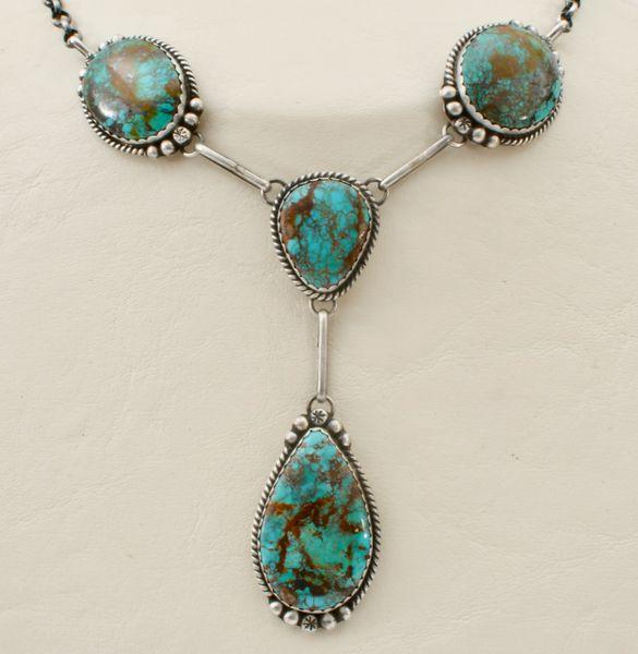 Beautiful four-stone traditional Navajo trophy pendant neckpiece.—SOLD!