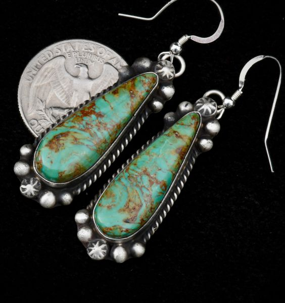 Sterling Navajo earrings with Royston, Nevada turquoise.