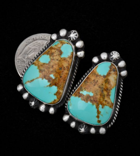 Navajo Kingman turquoise earrings with nicely matched copper matrix.