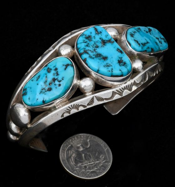 Heavy-silver, dead-pawn classic Navajo cuff with Sleeping Beauty turquoise. #1307