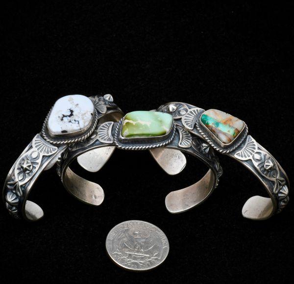 Custom-made small wrist-size Navajo stacker cuffs by Gilbert Tom. #1308