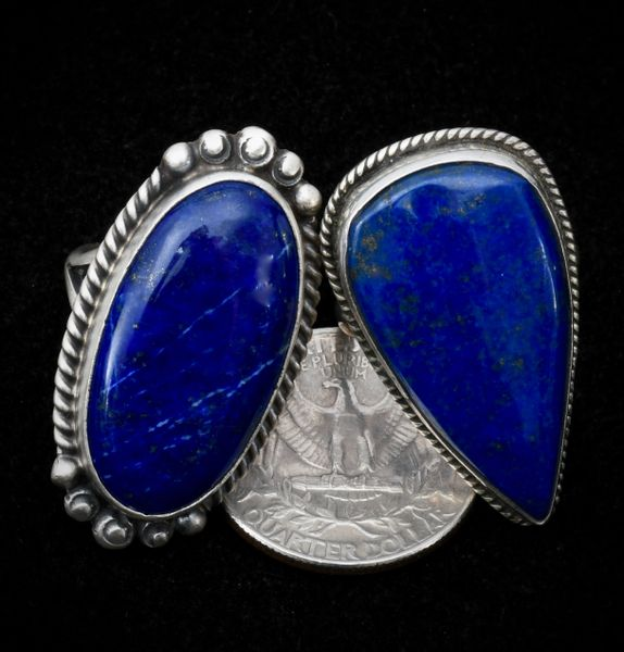 Size 7 Navajo ring with real (not man-made!) Lapis—on LEFT side of pic.