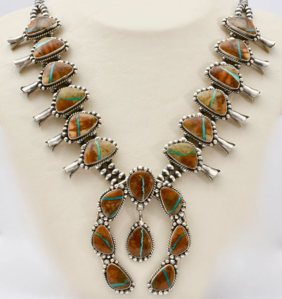 Sterling Navajo 20-stone ribbon turquoise squash-blossom necklace with matching earrings.—SOLD!