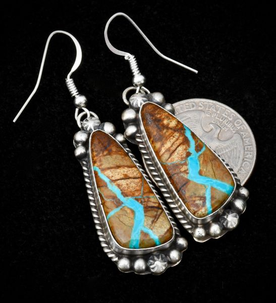 Matching ribbon turquoise earrings included with ribbon turquoise squash-blossom necklace (SKU 1312).—SOLD!