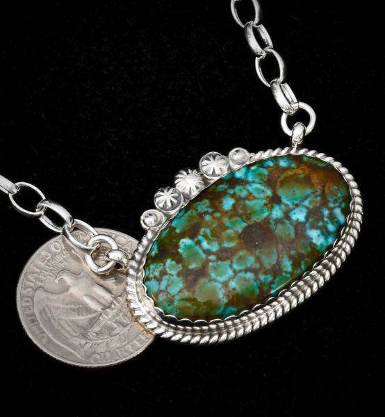 Sterling Navajo oval-shaped bar necklace with No. 8 Mine turquoise.
