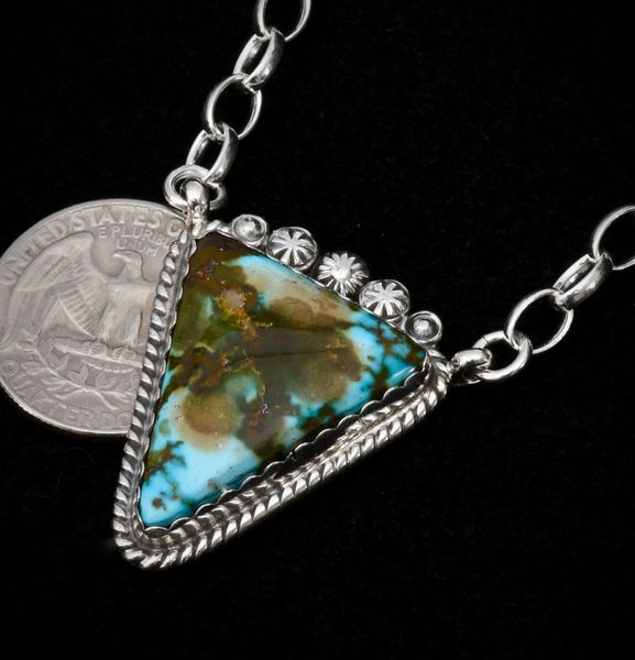 Triangular Navajo bar necklace with water-web Kingman turquoise and thicker chain.