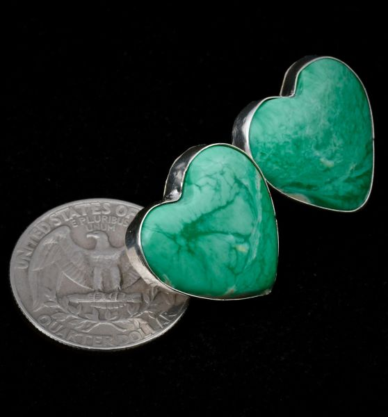 Heartwarming Navajo earrings with Royston, Nevada turquoise.