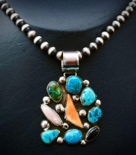 Large multi-stone Navajo pendant with 20-inch Navajo pearls.