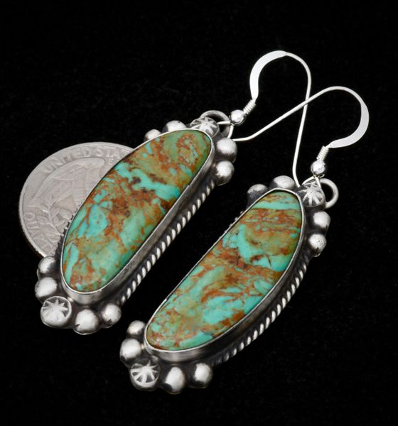 Old-style patina Navajo earrings with Royston, Nevada turquoise.