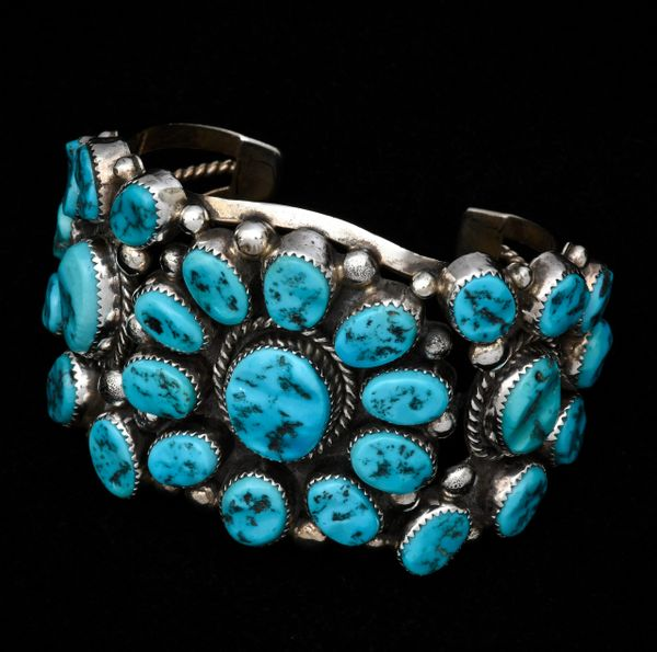 Trophy Navajo dead-pawn cluster cuff with older Sleeping Beauty turquoise. #1324