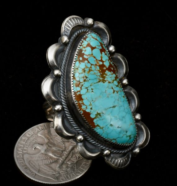 Navajo No. 8 Mine turquoise old-style ring, size 9.