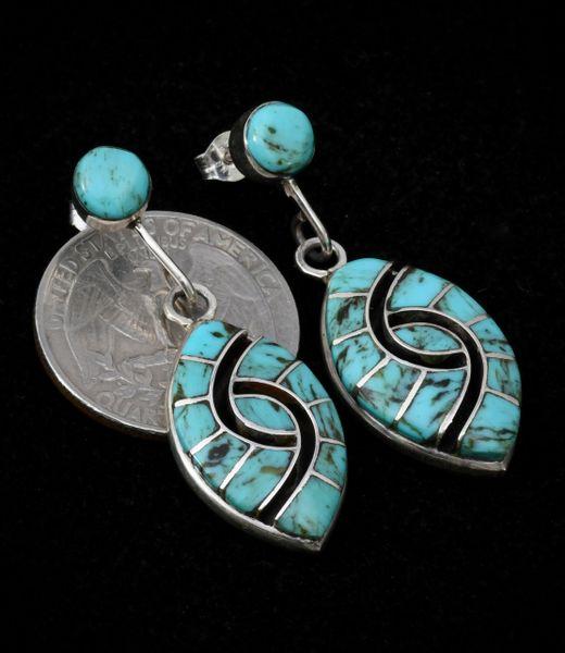 "Zuni two-piece Amy Quandelacy ""hummingbird"" design earrings."