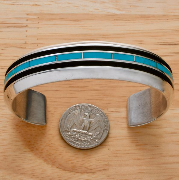Larry Loretto heavy-silver Zuni inlay turquoise cuff, with 7.25-inch inside circumference. #1330