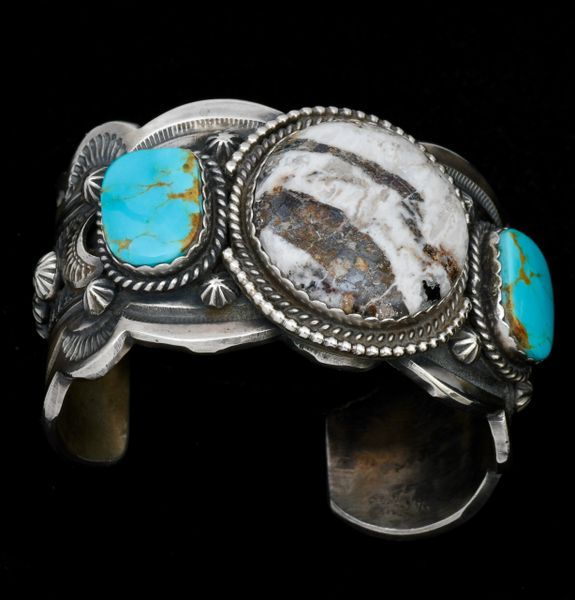 Custom made heavy-silver Navajo cuff with actual White Buffalo stone and Kingman turquoise, by Gilbert Tom. #1345