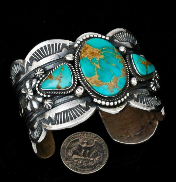 Gilbert Tom custom-made triplet turquoise cuff. #1352