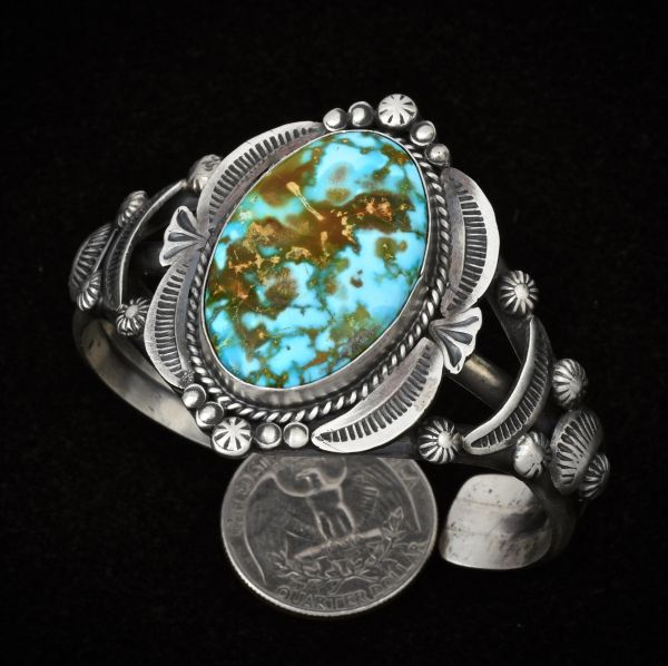 New Gilbert Tom Navajo cuff with water-web Kingman turquoise and old-style patina silver. #1353