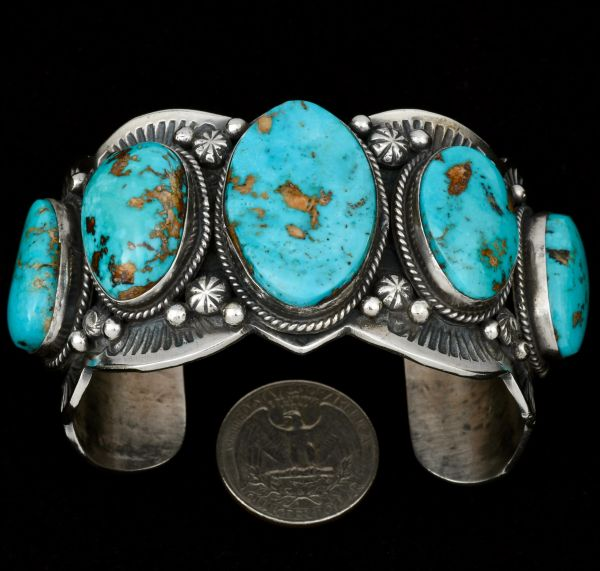 Gilbert Tom massive five-stone Kingman turquoise cuff. #1355